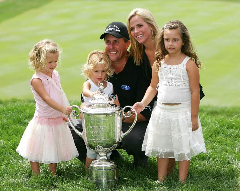 phil mickelson with wife amy and family at The Masters